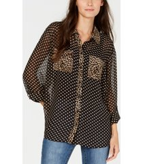 inc petite dot-print button-front shirt, created for macy's