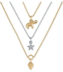 "rachel rachel roy two-tone three-row pendant necklace, 18"" + 2"" extender"
