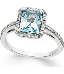 aquamarine (1-1/5 ct. t.w.) and diamond (1/4 ct. t.w.) ring in 14k white gold