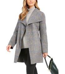 tahari plaid wing-collar wrap coat