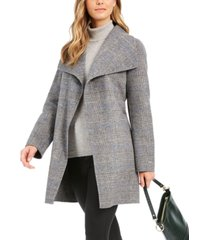 tahari plaid wing-collar wrap coat