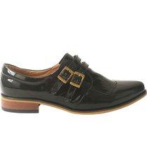 zapato casual negro charol correas valése