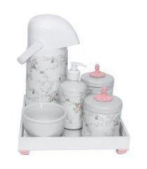 kit higiene espelho completo porcelanas, garrafa e capa provençal rosa quarto bebê menina