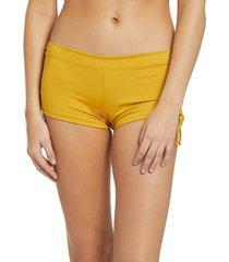 mika yoga wear women's mikaela hot shorts - mustard large/x-large polyester/lycra