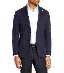 men's l.b.m. 1911 trim fit knit cotton blend blazer, size 38 us - blue