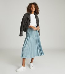 reiss diana - embellished pleated midi skirt in blue, womens, size 14