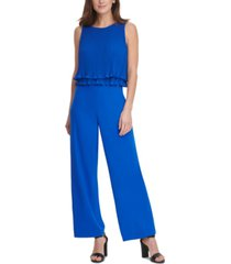 dkny pleated chiffon layered-top jumpsuit