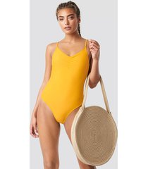 na-kd swimwear basic front ruched swimsuit - yellow