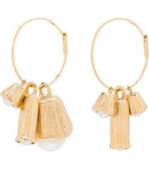 jil sander pearl charm earrings - gold