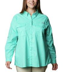 columbia pfg plus size bonehead stretch utility shirt