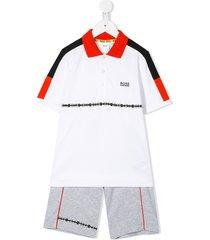 boss kidswear color-block track suit set - white