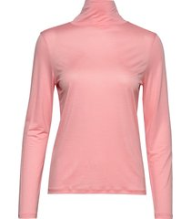 tencel polo neck top t-shirts & tops long-sleeved roze filippa k