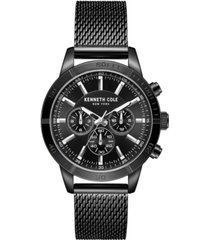 kenneth cole new york men's multifunction dual time black plated stainless steel watch on black plated stainless steel mesh bracelet, 44mm