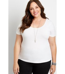 maurices plus size womens basic solid fitted tee white