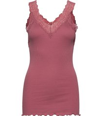 organic top v-neck regular w/lace t-shirts & tops sleeveless rosa rosemunde