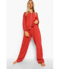 jersey shirt met lange mouwen en broek met knopen pyjama set, red