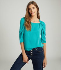 reiss isabelle - ruched sleeve straight neck top in teal, womens, size 14