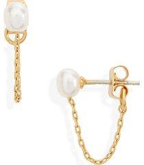 women's madewell freshwater pearl chain stud earrings