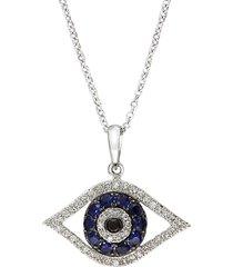 effy women's royale bleu 14k white gold, diamond & sapphire evil eye necklace