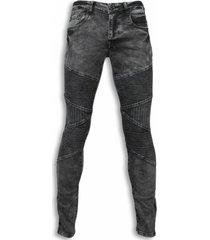 exclusieve biker jeans - slim fit denim ribbed knee