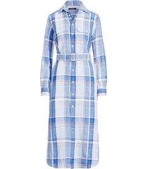 linen plaid casual dress