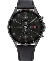 tommy hilfiger men's chronograph black leather strap watch 44mm