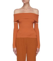 'zayla' off shoulder cut out sleeve knit top