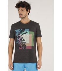 """camiseta masculina """"botanical"""" manga curta gola careca cinza mescla escuro"""