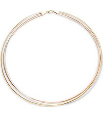 14k tri-tone gold tiered necklace