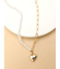 collar con colgante de corazón de cadena simple de perlas de imitación de oro