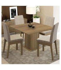 conjunto sala de jantar madesa maitê mesa tampo de madeira com 4 cadeiras rustic/fendi rustic