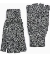 mens grey salt and pepper fingerless gloves