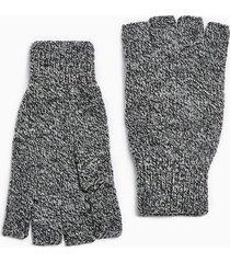 mens grey salt and pepper fingerless gloves