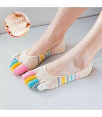 donna calzini invisibili a barca con le dita iridescenti respirabili con assorbimento di sudore antiscivolati comodi calze corte alla caviglia