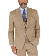 tayion collection men's classic-fit taupe with teal stripe suit separates jacket