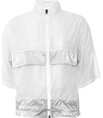 colete alto giro aerofit recortes metalic branco/prata - branco - feminino - dafiti