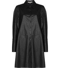 tibi faux leather shirt dress - black