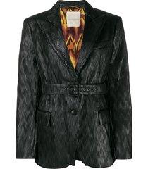 marco de vincenzo belted pleated blazer - black