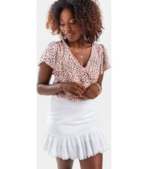 eveline surplice flutter bodysuit - pink