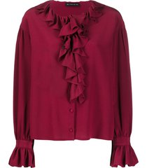 etro ruffle trim fluted sleeve blouse - red