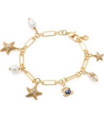 kate spade new york gold-tone cubic zirconia, imitation & freshwater pearl (6-7.5mm) heart crab & starfish charm bracelet