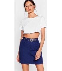 womens a little denim mini skirt - navy