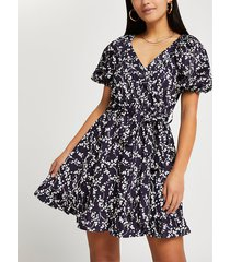 river island womens petite navy floral belted wrap mini dress