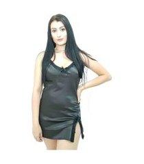camisola curta cetim com decote e renda yaries preto