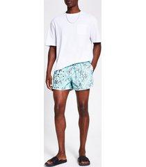 river island mens green bandana printed swim shorts