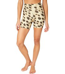 weworewhat women's high-waist animal-print bike shorts - tan - size xl