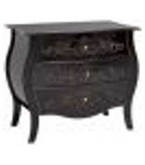 cômoda bombê clássica 3 gavetas entalhada arabesco abaulada preto fosco