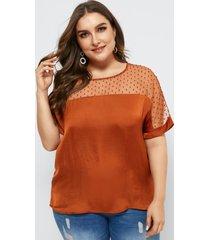 blusa de manga corta de patchwork de malla talla grande yoins