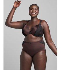 lane bryant women's smooth lightly lined full coverage bra with eyelash lace 38dd chocolate plum