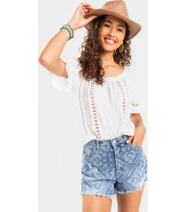 brandia crochet off the shoulder blouse - ivory